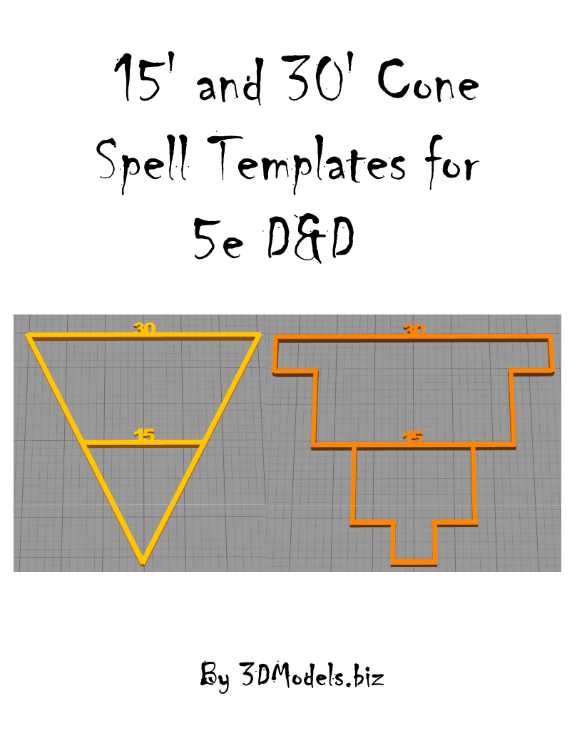 15\' and 30\' Cone Spell Templates for 5e D&D - 3DModels.biz ...