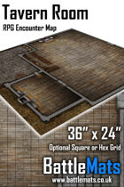"Tavern Room 36"" x 24"" RPG Encounter Map"
