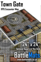 "Town Gate 24"" x 24"" RPG Encounter Map"