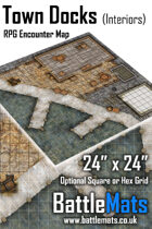"Town Docks Interiors 24"" x 24"" RPG Encounter Map"
