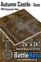 "Autumn Castle Gate 24"" x 24\"" RPG Encounter Map"