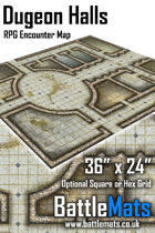 "Dungeon Halls 36"" x 24"" RPG Encounter Map"