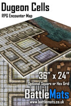 "Dungeon Cells 36"" x 24"" RPG Encounter Map"