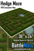 "Hedge Maze 36"" x 24"" RPG Encounter Map"