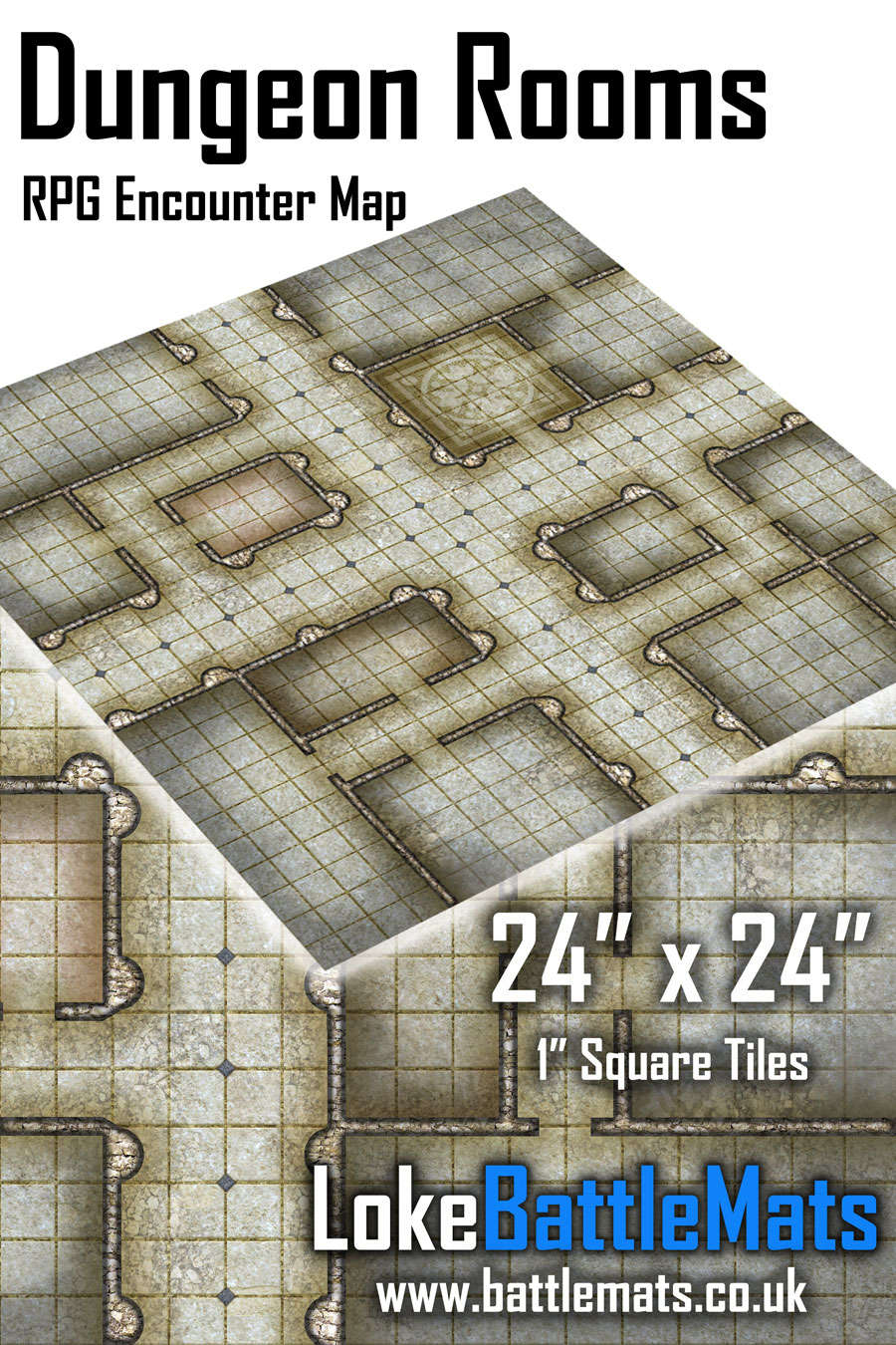 "Dungeon Rooms 24"" x 24"" RPG Encounter Map"