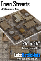 """Town Streets 24"""" x 24"""" RPG Encounter Map"""