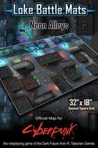 "Neon Alleys 32"" x 18"" RPG Encounter Map"