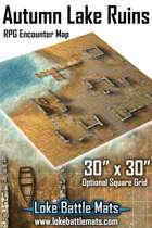 """Autumn Lake Ruins 30"""" x 30"""" RPG Encounter Map"""