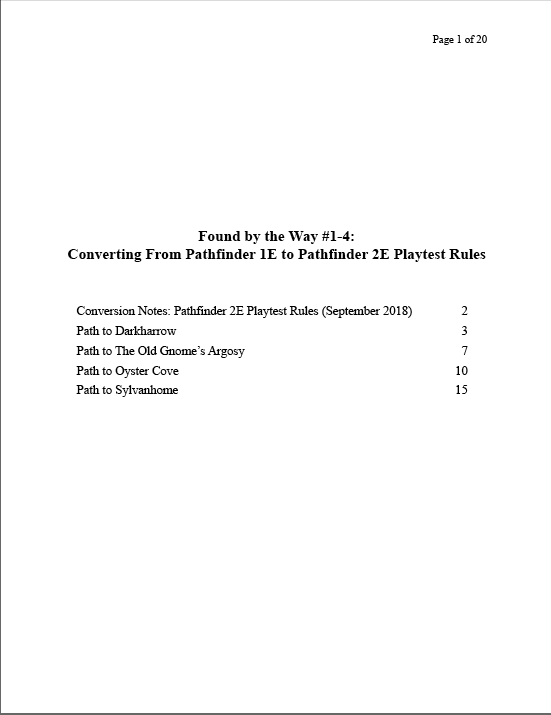 Pathfinder 2E (Playtest Version) Conversion Notes for Found
