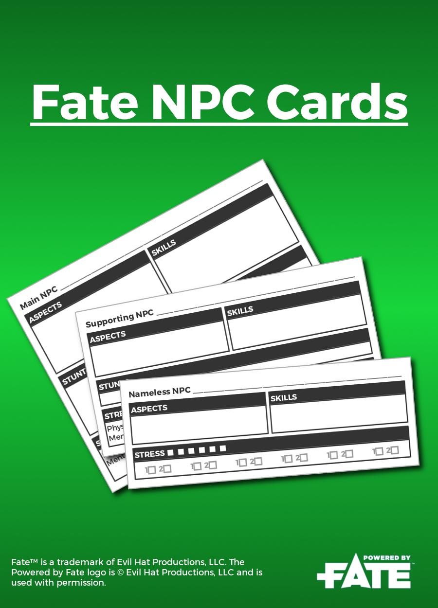 Fate NPC Cards - Nathan Hare | DriveThruRPG com