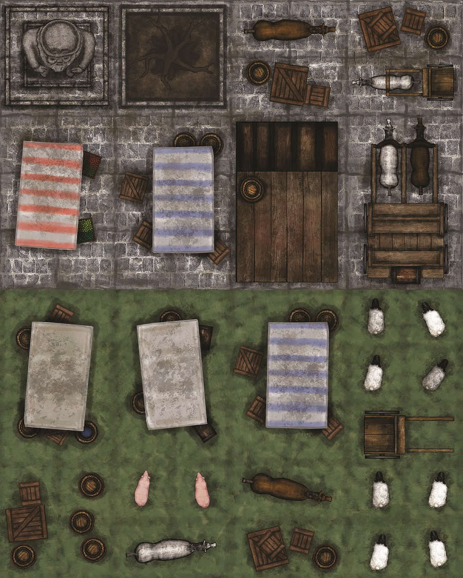 Adventure realm map tiles town and wilderness extras