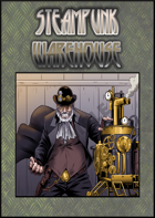 Stock Art - Steampunk - Old male and machine - Warehouse
