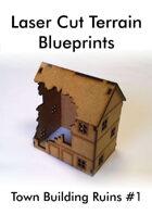 Laser Cut Terrain Blueprint - Town Building Ruins #1