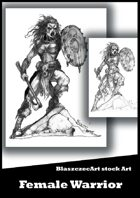BlaszczecArt Stock Art: Female Warrior B&W