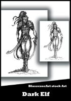BlaszczecArt Stock Art: Dark Elf B&W