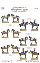 Team horses for transportation 6 pound gun 4 line infantry regiment (France 1809-1811 year)
