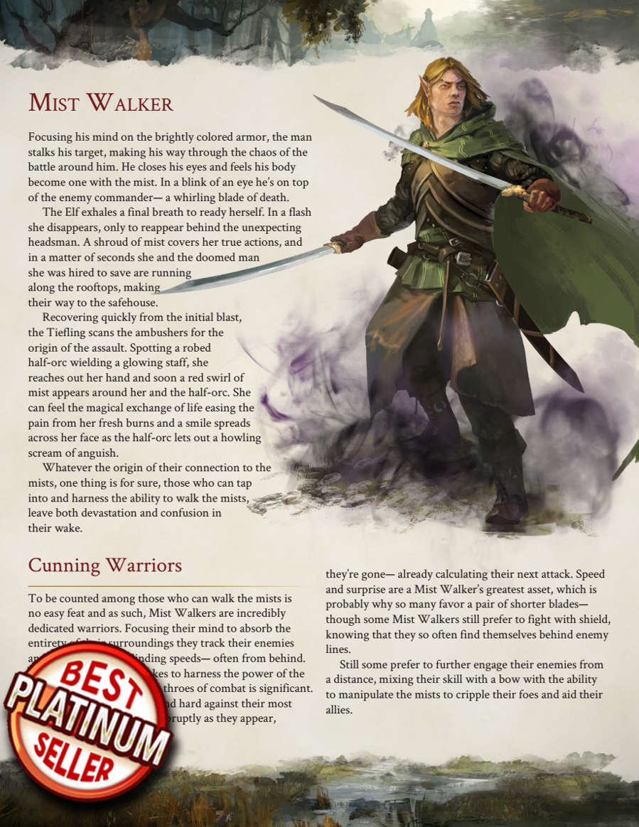 The Mist Walker - 5e Class - Taking20 | DriveThruRPG com
