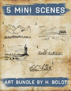 5 Mini Scenes Filler Stock Illustration