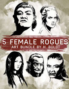 5 Female Rogue Character Stock Illustrations