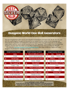 Dungeon World One-Roll Generators