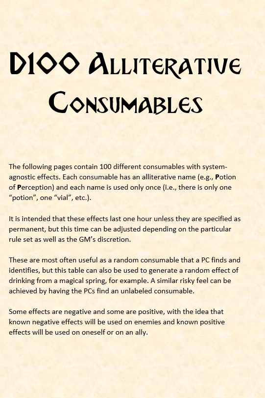 d100 Random Potion Effects - Nailthorn Studios | DriveThruRPG com