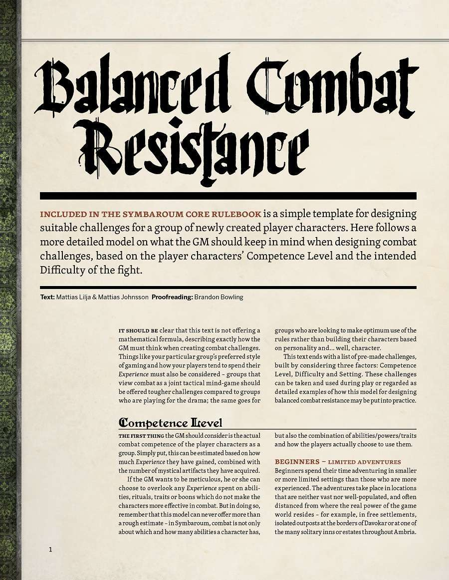 Symbaroum - Balanced Combat Resistance