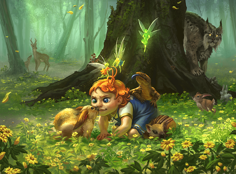 A young girl playing with creatures in a magical forest