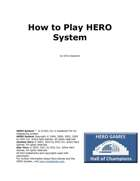How To Play HERO System