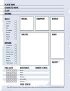 Spire character sheet.