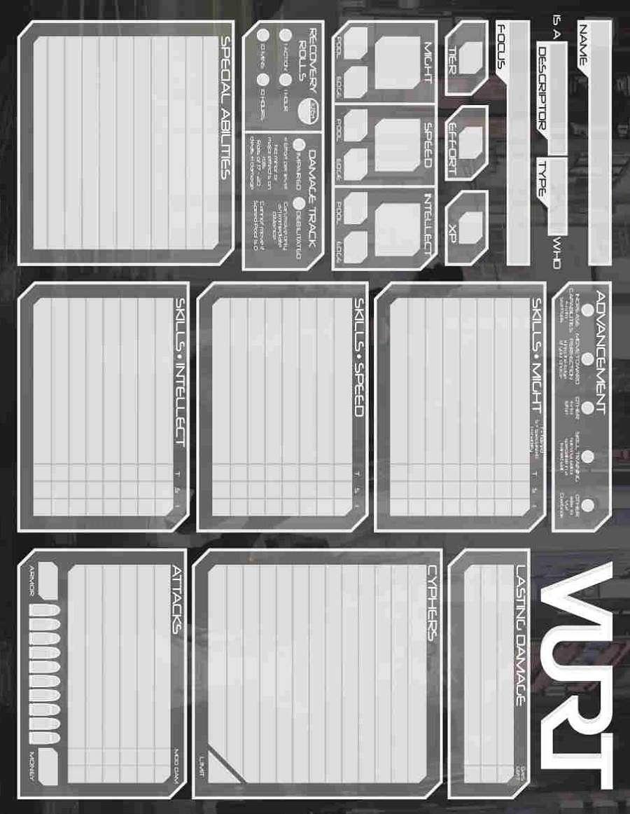 Vurt Character Sheet (form fillable pdf) - Ravendesk Games