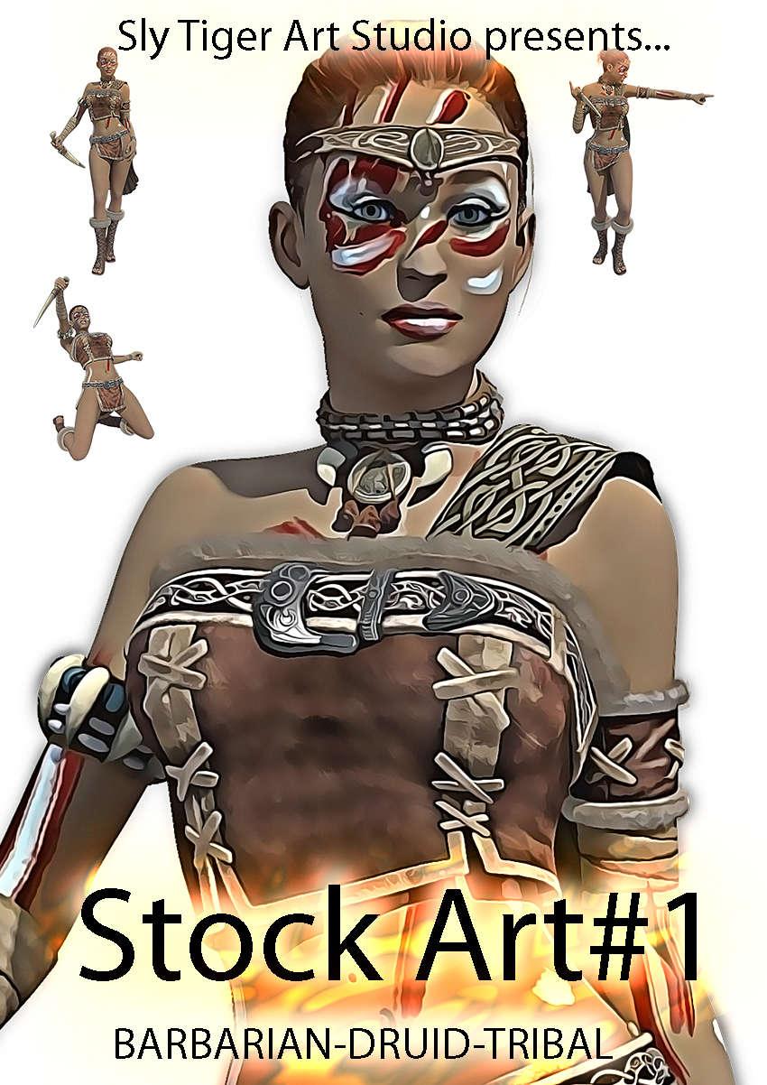 Stock Art Fantasy Characters STAS001 - Female Druid/Barbarian