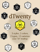 dTwenty polyhedral dice fonts