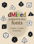 Mixed polyhedral dice fonts