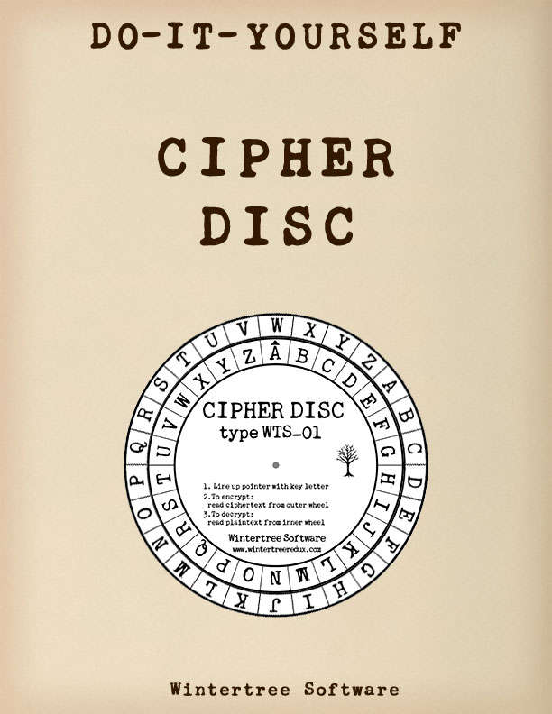 photograph about Printable Cipher Wheel referred to as Clic Cipher Disc - Wintertree Software program Other