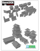 modular Asia / Shogun Castle SET OPENLOCK (STL File)