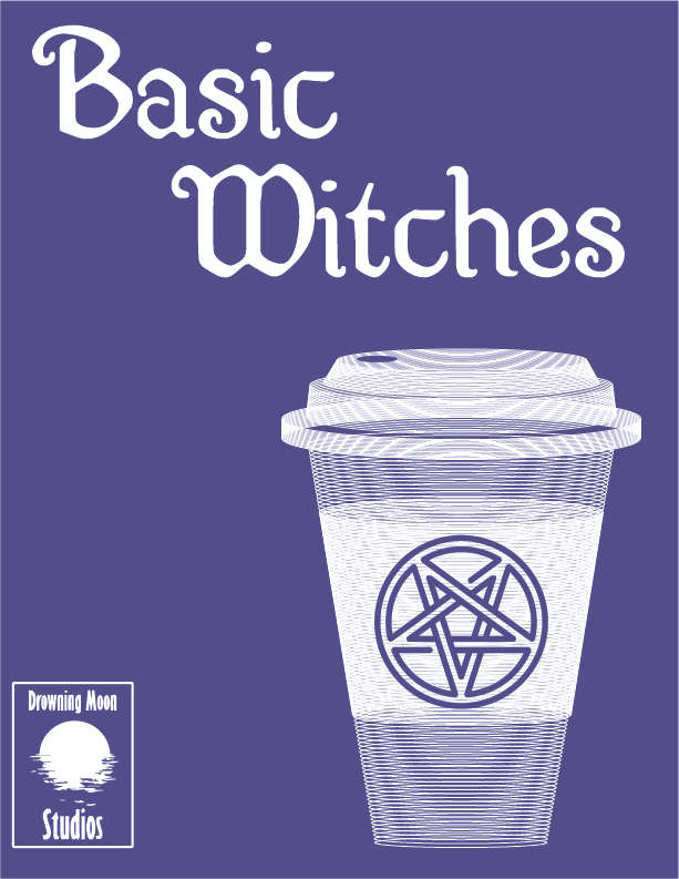 Basic Witches cover featuring a disposable coffee cup with a pentagram on it.