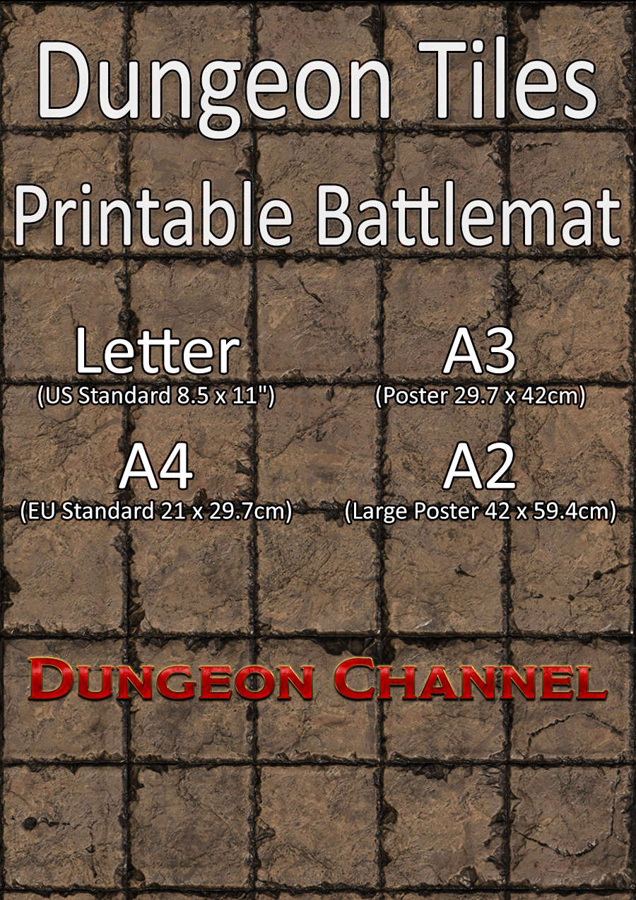 image about Printable Dnd Grid identified as Dungeon Tiles - Printable Battlemat - Dungeon Channel
