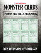 Combat Cards: Fillable Monster Cards