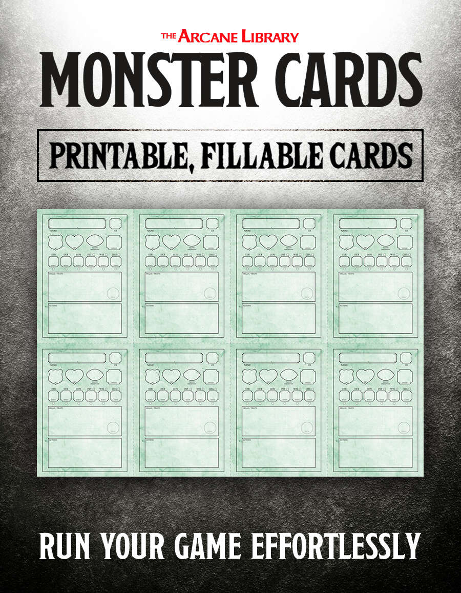 picture relating to Printable Monster Cards 5e called Watermarked PDF
