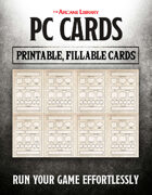 Combat Cards: Fillable PC Cards