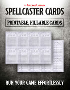 Combat Cards: Fillable Spellcaster Cards