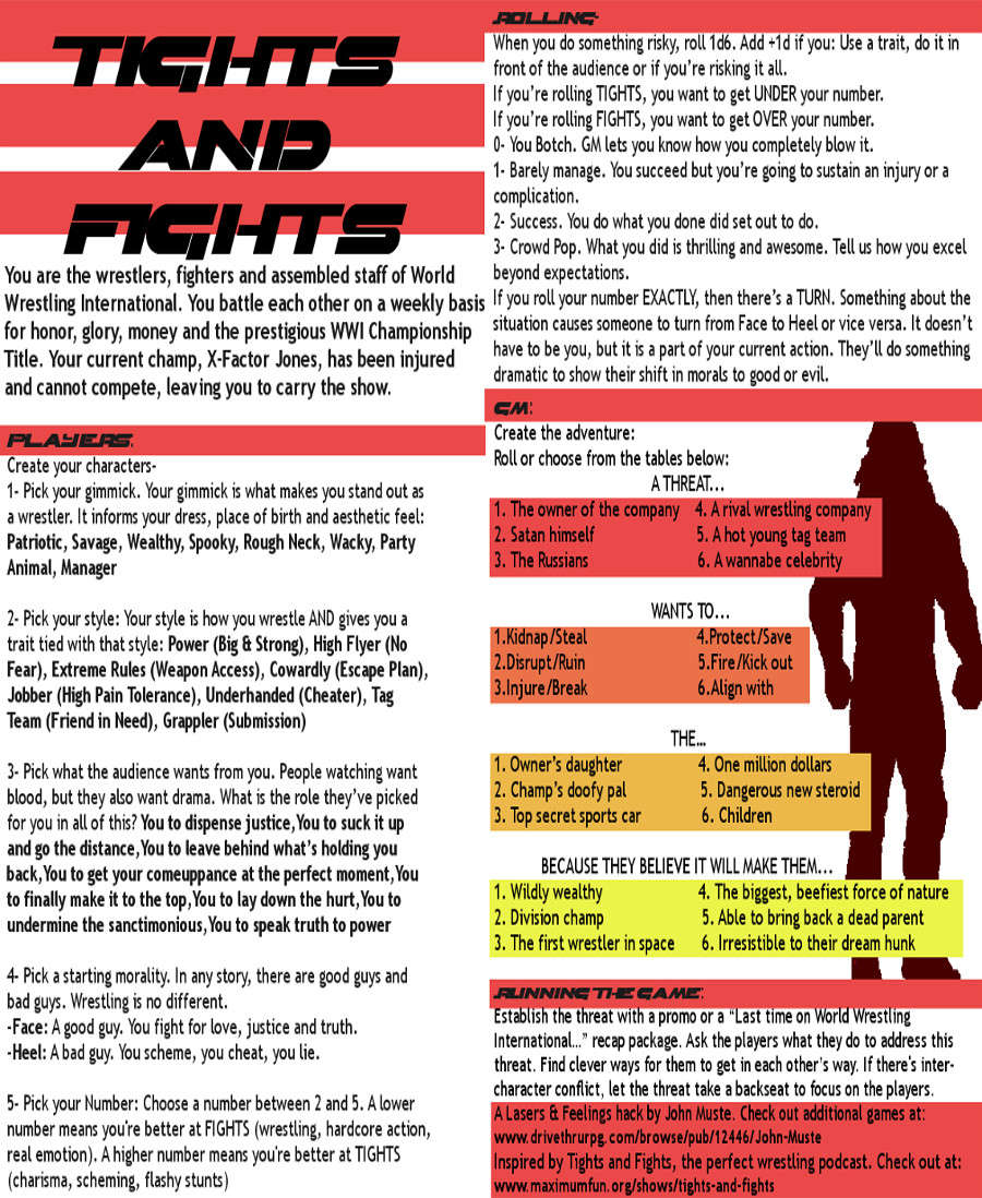 Tights And Fights A Lasers And Feelings Hack John Muste Drivethrurpg Com