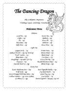 Fantasy Tavern Menu - The Dancing Dragon