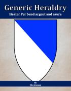 Generic Heraldry: Heater Per bend argent and azure