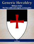 Generic Heraldry: Military Order- Per fess, sable and argent, a cross patee gules