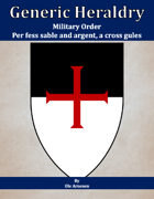 Generic Heraldry: Military Order- Per fess, sable and argent, a cross gules