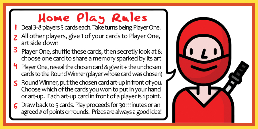 Home Play Rules for Ninja Nate's Naughty-Nerdy Storytime! Card Game