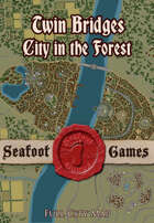Twin bridges, city in the forest, full city map.