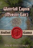 Seafoot Games - Waterfall Lagoon (Monster Lair) | 20x30 Battlemap