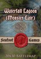 Seafoot Games - Waterfall Lagoon (Monster Lair) | 20x30 Battlemap